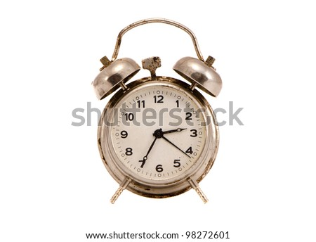 isolated on white and grungy vintage metal clock - stock photo