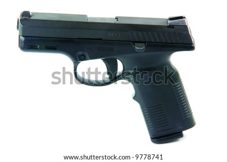 isolated on white automatic handgun weapons arms - stock photo