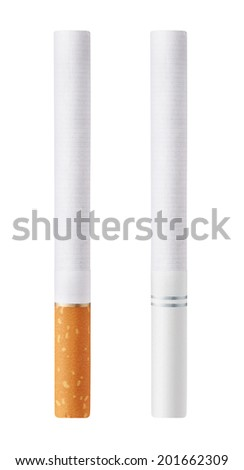Isolated on white background cigarettes with orange and white filters - stock photo