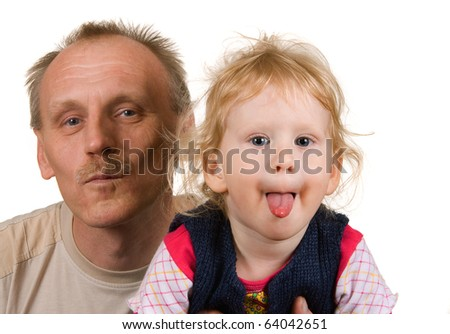 Isolated on white background dad and daughter