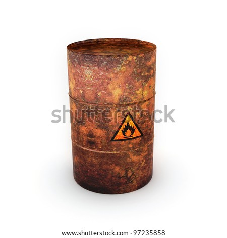 Isolated on white background oil barrel - stock photo