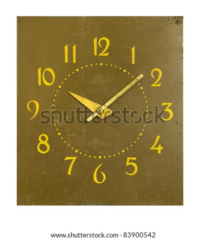 isolated on white background old vintage clock-face - stock photo