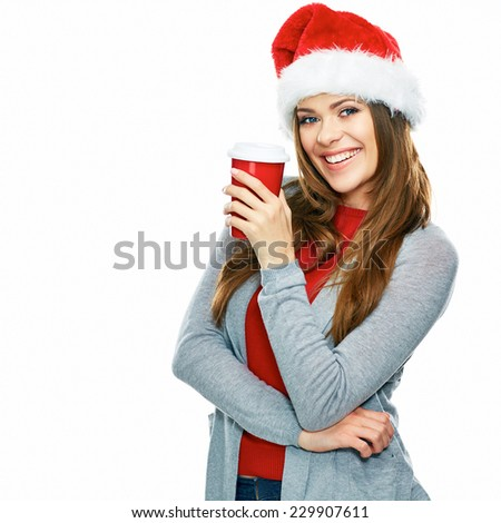 Isolated on white background portrait of young woman with long hair holding red coffee cup. Studio. - stock photo