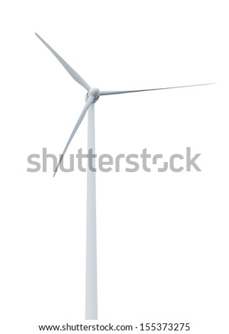 Isolated on white background wind turbines (including paths)