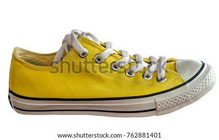 isolated on white background yellow sneakers fashion vintage style model running shoes