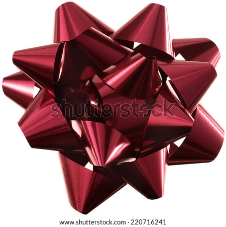 Isolated on white burgundy-red bow for Christmas and other celebrations.