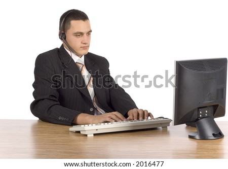 isolated on white businessman at the computer - stock photo