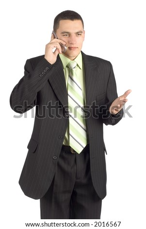 isolated on white businessman on the mobile phone - stock photo