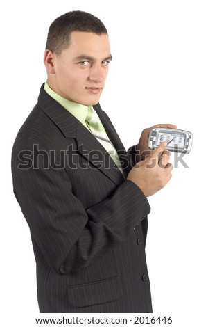 isolated on white businessman with palmtop / mobile - showing - stock photo