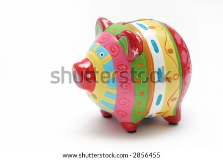 Isolated on white colorful save money piggy bank - left side. - stock photo