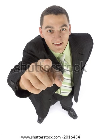 isolated on white headshot of businessman pointing by finger - stock photo