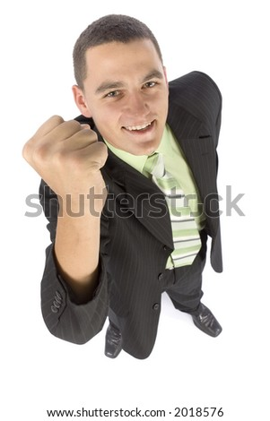 isolated on white headshot of happy businessman - stock photo