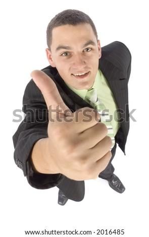 isolated on white headshot of happy businessman - OK - stock photo