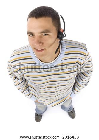 isolated on white headshot of man with telephone's headset - stock photo
