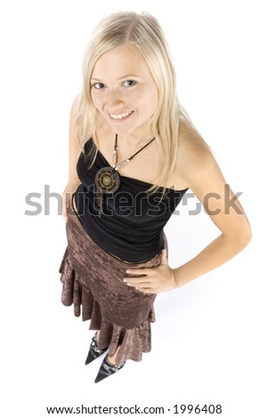 isolated on white headshot of smiling young blonde woman - stock photo