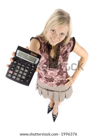 isolated on white headshot of young blonde woman with calculator - stock photo