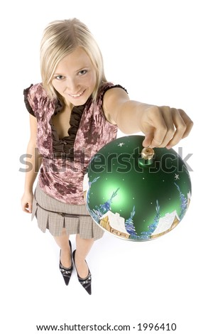 isolated on white headshot of young blonde woman with christmas ball