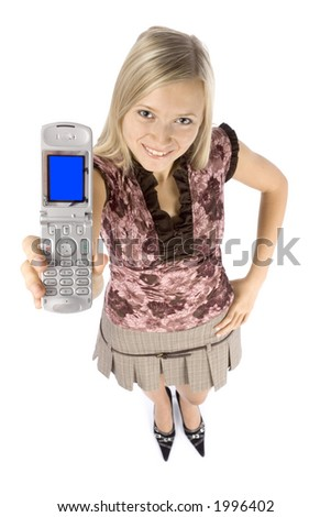 isolated on white headshot of young blonde woman with mobile phone - stock photo
