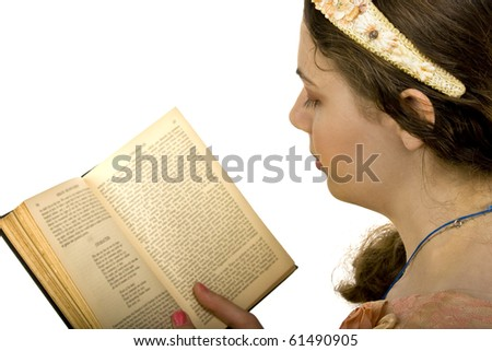 isolated on white headshot of young woman with book - stock photo
