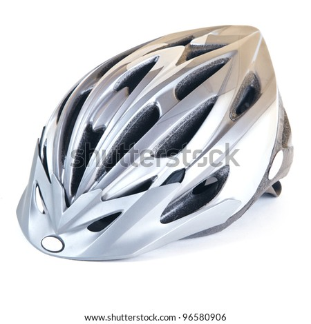 Isolated on white helmet. Bicycle helmet for safe driving - stock photo