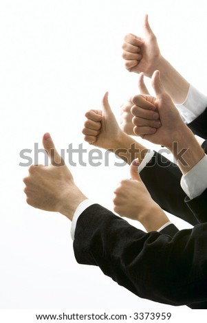Isolated on white human hands showing okay sign - stock photo