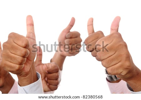 Isolated on white human hands showing thumbs up.