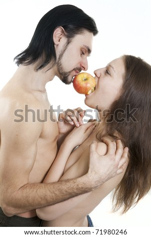 isolated on white male and female eating apple - stock photo