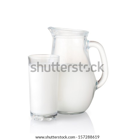 Isolated on white milk jug and glass. - stock photo