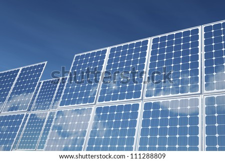 Isolated on white photovoltaic Panel for Alternative Energy. - stock photo