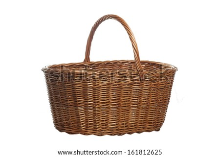 Isolated on white picnic basket made of rattan - stock photo
