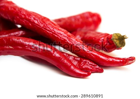 Isolated on white pods red pepper (capsicum, cayenne). - stock photo