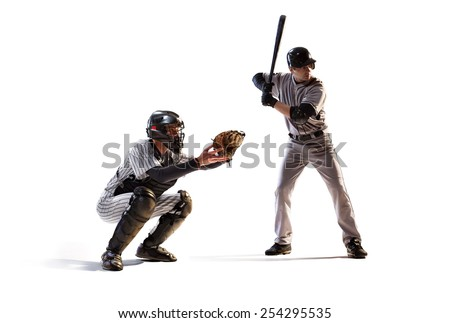 Isolated on white professional baseball players in action - stock photo