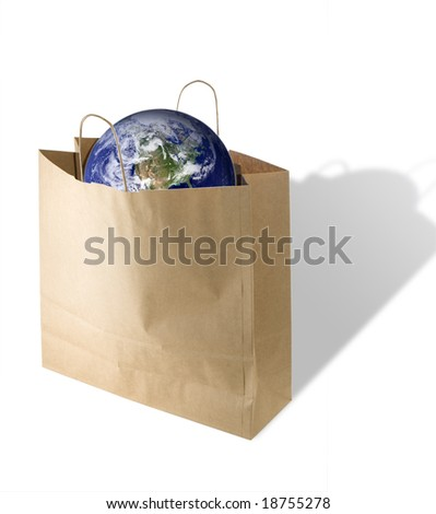 isolated on white recycled bag with a earth image courtesy of http://www.visibleearth.nasa.gov - stock photo