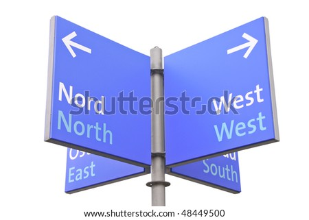 Isolated on white roadsign with geographic directions to north south east and west in English - stock photo