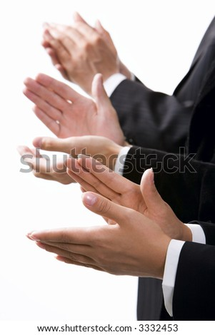 Isolated on white row of clapping hands - stock photo