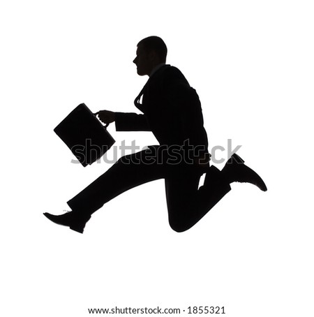 isolated on white silhouette of jumping businessman - stock photo