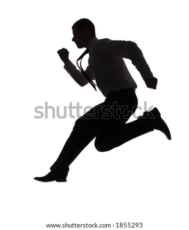 isolated on white silhouette of running businessman