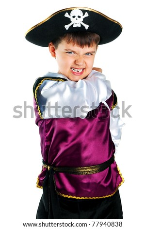 Isolated on white the kid wearing in pirate costume