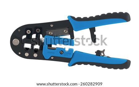 Isolated on white universal crimping tool. Crimper - stock photo