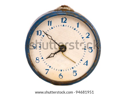 isolated on white vintage and grungy alarm clock - stock photo