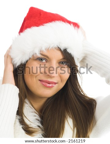 isolated on white young and attractive female Santa - stock photo