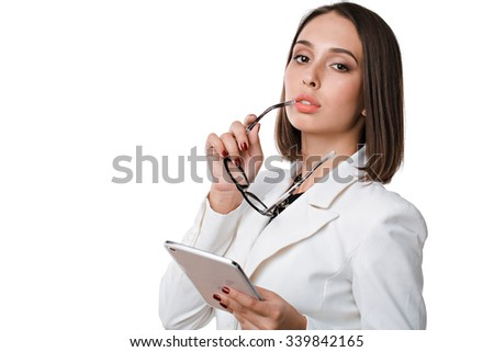 isolated on white young attractive woman holding tablet computer - stock photo