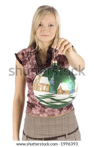 isolated on white young blonde woman with christmas ball - stock photo
