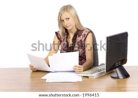 isolated on white young blonde woman with in the office
