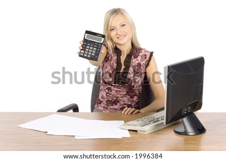 isolated on white young blonde woman with in the office with calculator - stock photo