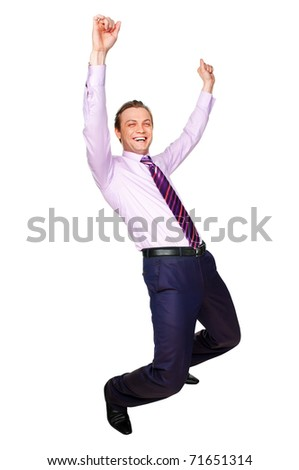 Isolated on white young handsome excited man with hands up