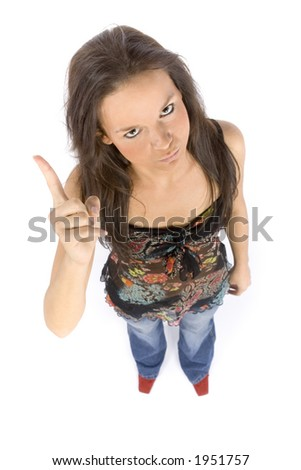 isolated on white young woman threatens by finger - stock photo