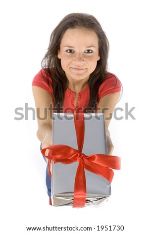 isolated on white young woman with gift - stock photo