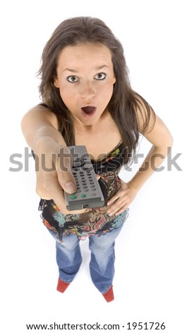 isolated on white young woman with remote control looks shocked - stock photo