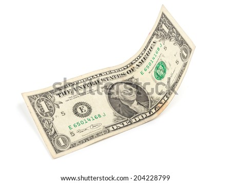 Isolated one dollar banknote on a white background